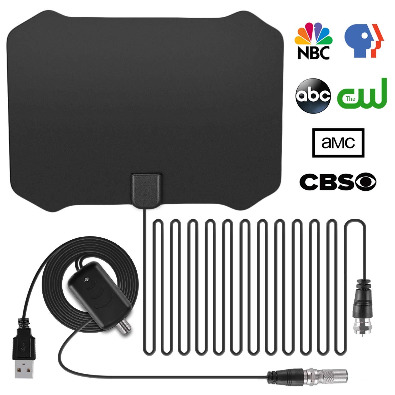 Olycism Antena de TV Interior HDTV de Rango Amplificado de 80-120 Millas con Amplificador de Señal Desmontable y Cable Coaxial DE 13 Pies Obtenga Muchos ...