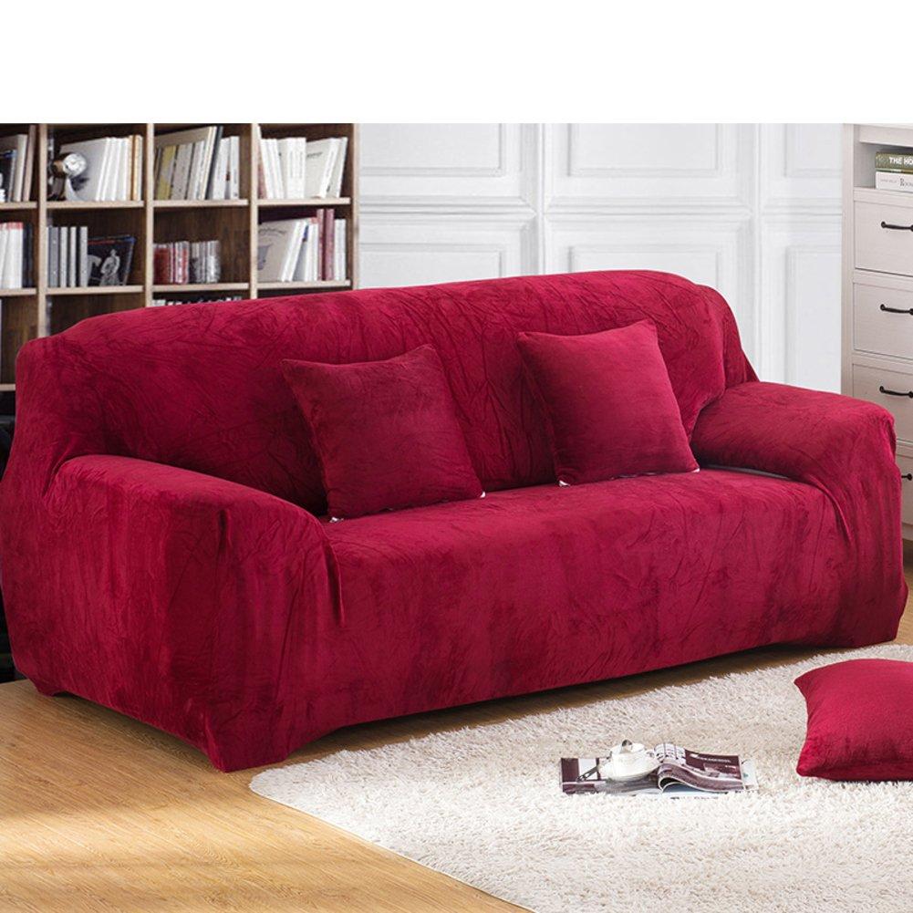 Amazon.com: Alta elasticidad sofá color sólido, Protector de ...