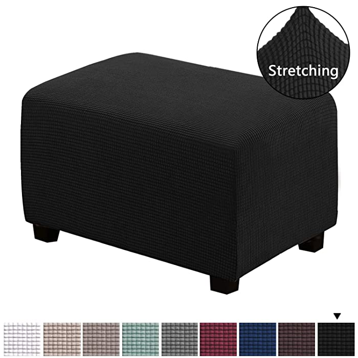 H.VERSAILTEX Ottoman Slipcovers Sofa Slipcovers Furniture Protector Covers Form Fit Stretch Storage Ottoman Covers Foot Rest Spandex Jacquard Checked Pattern Fabric(Black, Standard Size)