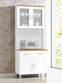 Hodedah Long Standing Kitchen Cabinet With Top Bottom Enclosed Cabinet Space One Drawer