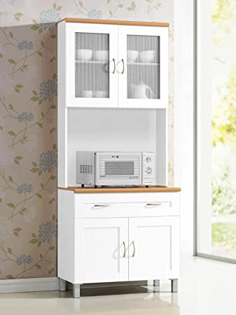 Amazon Com Hodedah Long Standing Kitchen Cabinet With Top