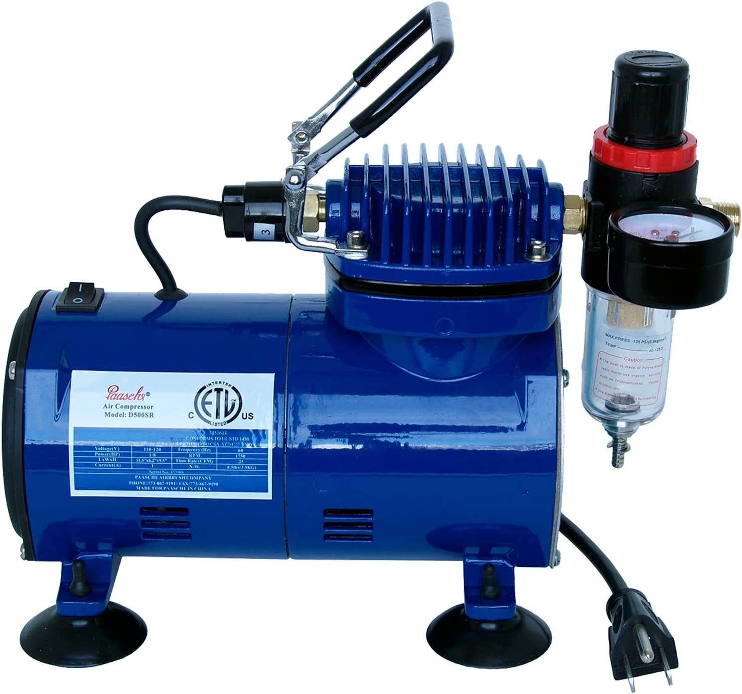 Paasche Airbrush D500SR 1/5 HP Compressor with Regulator and Moisture Trap