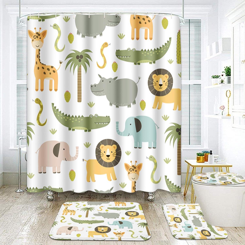 ArtSocket 4 Pcs Shower Curtain Set Cute Hippo Crocodile Lion Elephant Giraffe Childish Colorful with Non-Slip Rugs Toilet Lid Cover and Bath Mat Bathroom Decor Set 72