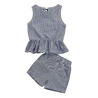 Bebé Recién Nacido Invierno Niña 0-7 años, Zolimx 2Pc Bebé Niños Niñas Chaleco a Cuadros Tops + Pantalones Cortos Conjunto Ropa Traje