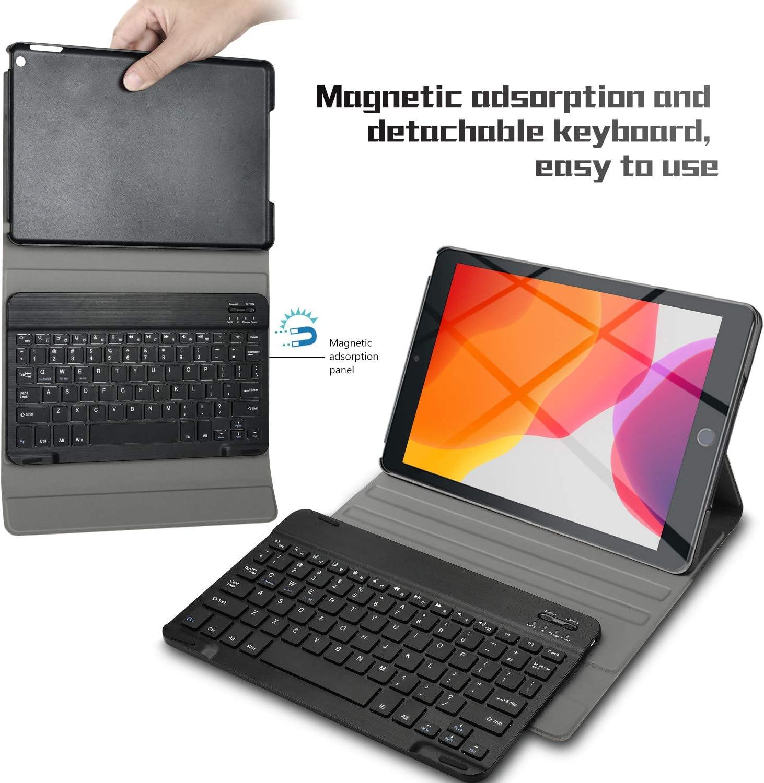 7/ème g/én/ération Rouge , QWETY D/étachable Wireless Clavier Keyboard Stand PU Case Housse pour iPad 10.2 Pouces Tablette ELTD Clavier /Étui pour iPad 10.2 Pouces 2019