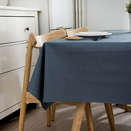 Ommda Mantel Antimanchas Rectangular Mantel PVC Impermeable Lavable para Diseño de Comedor Jardin Cocina 130x170cm Azul: Amazon.es: Hogar