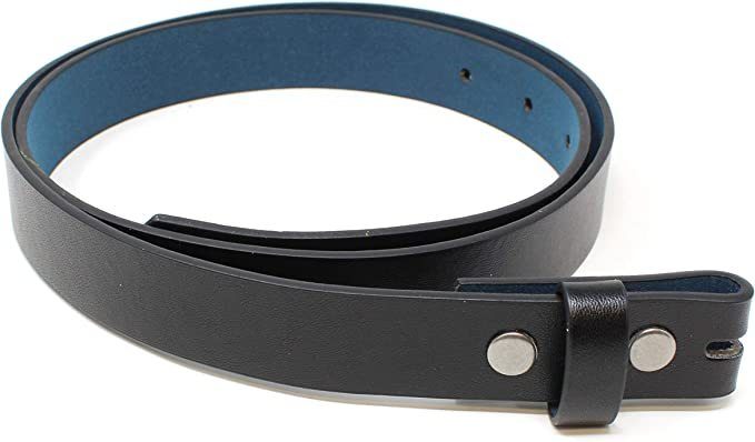 Thin Leather Belt Strap with Smooth Grain Finish 1 Wide with Snaps
