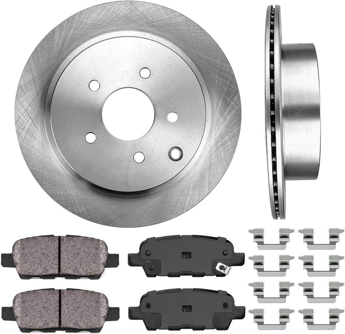 Rear Drilled Slotted Brake Rotors /& Ceramic Pads For Infiniti M35h M37 M37X M56