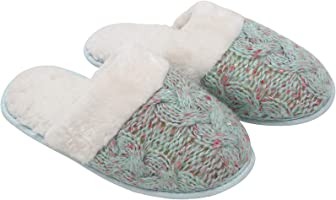 Women's Fuzzy Knit House & Bedroom Slippers - Soft & Cozy Slip Ons by Blis