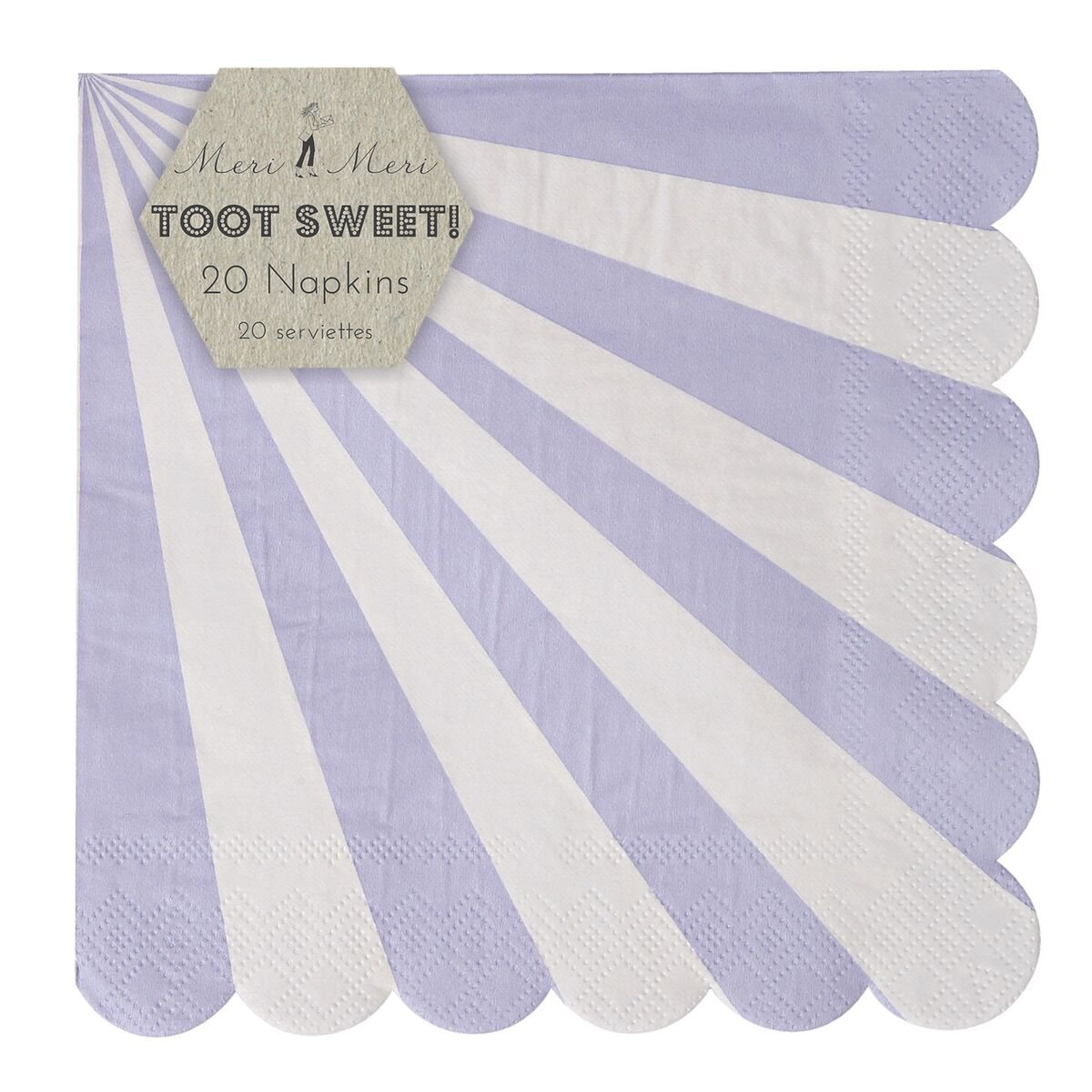 Meri Meri Striped Party Napkins, Set of 20 (Large, Lavender) by Meri Meri