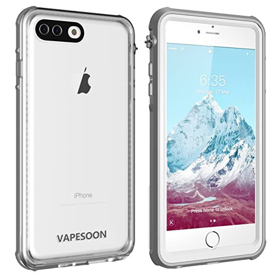size 40 7c208 5b0d4 Vapesoon iPhone 7 Plus /8 Plus Waterproof Case Waterproof Shockproof  Snowproof Clear Case for iPhone7 Plus /8 Plus -Gray+White (5.5 inch)  (Gray+White) ...