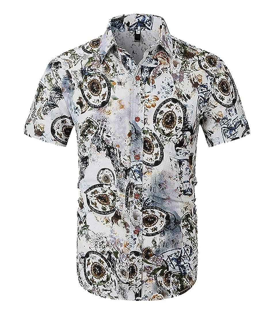 Mens Stylish Print Aloha Short Sleeve Shirt Slim Fit Button Down Dress Shirts