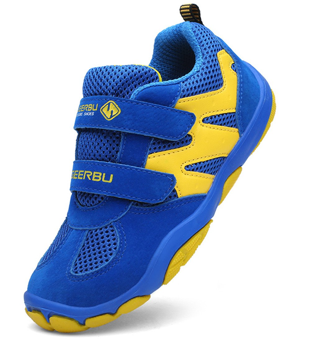 DADAWEN Kid's Breathable Outdoor Hiking Sneakers Strap Athletic Running Shoes Blue/Yellow US Size 13 M Little Kid