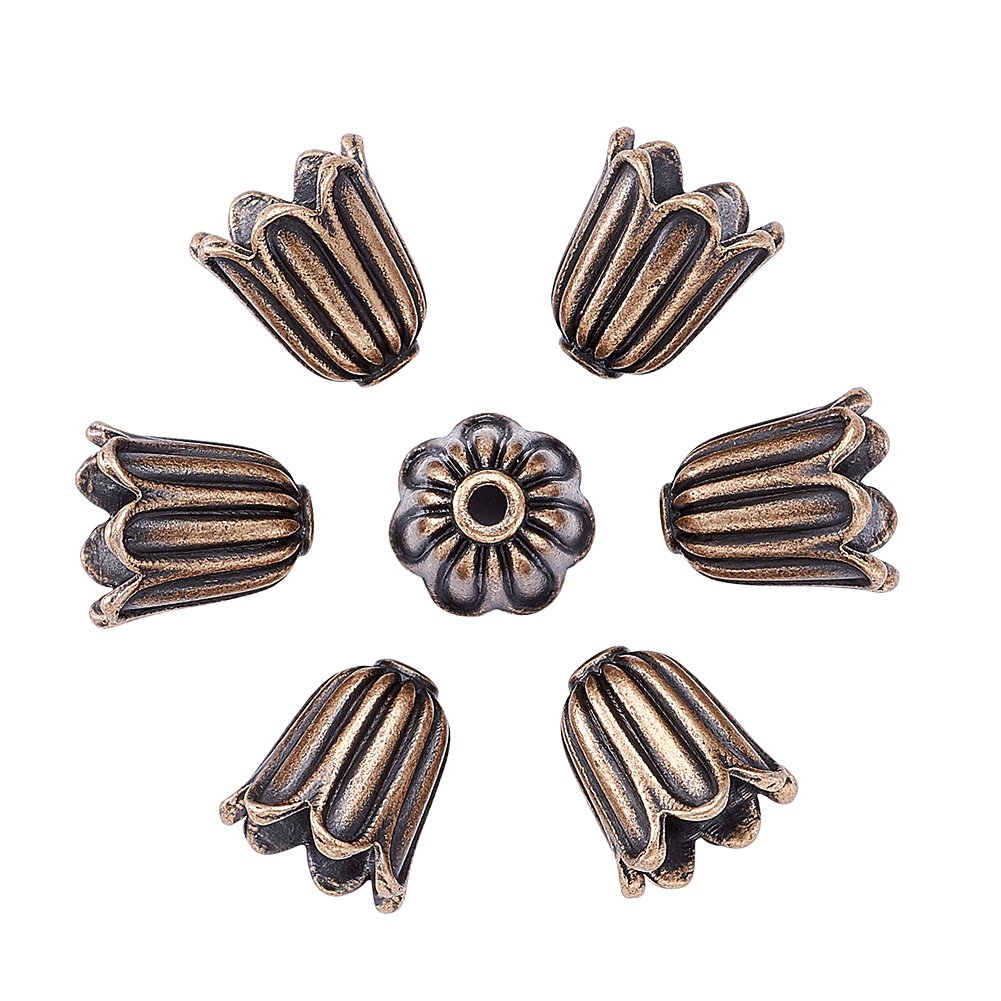 Pandahall 20pcs Tibetan Style Alloy Flower Bead Caps Large Beads Spacers Jewelry Makings 10x10mm Cadmium Free & Lead Free & Nickel Free Antique Golden 4336828360