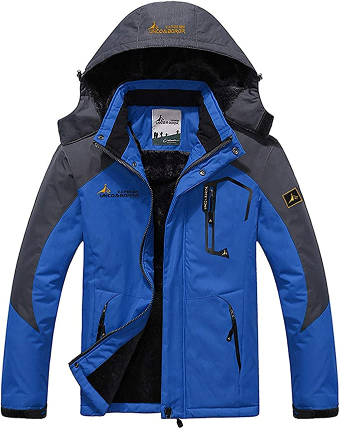Imagen deMemoryee Chaqueta Impermeable para Hombres Chaqueta Polar de Invierno Cálida Chaqueta de esquí A Prueba de Viento Bolsillos múltiples