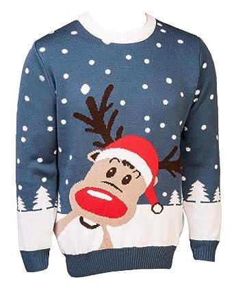DEER TOM© Herren Weihnachtspullover Rentierpulli Weihnachten