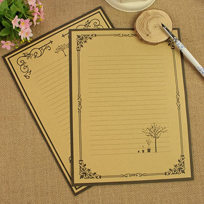 nuolux 8pcs vintage writing stationery paper kraft letter writing paper sets holiday presents