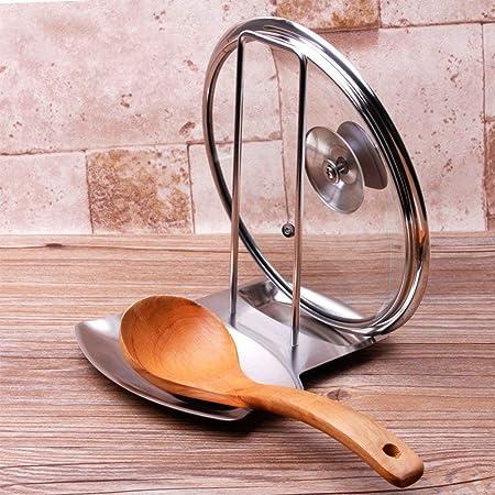 ipstyle cacerola tapa soporte progresivo tapa y cuchara resto estante 304 Acero inoxidable Cacerola Tapa Organizador herramienta de decoración de la ...