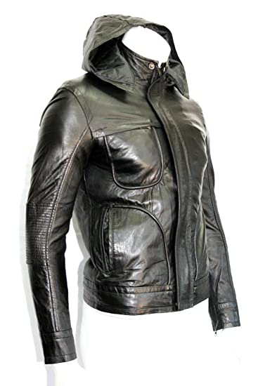 410ef22f5b46 Men's 'GHOST PROTOCOL' Hooded Mission Impossible Black Real Leather Jackets  ...