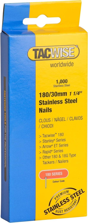 Tacwise 1067 Clavos de acero inoxidable de tipo 180//30 mm 30 mm Set de 1000 Piezas