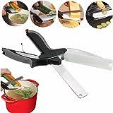 2-in-1 Gemüseschneider Küchenschere, GOCHANEG Gemüseschere Küchenmesser Obstmesser mit integriertem Schneidebrett, Edelstahl Messer Spickmesser für Salate/ Gemüse/ Fleisch/Kartoffeln und Brot