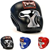 Twins Special Headgear Head Guard HGL-3 Color Black Blue Red Size S, M, L, XL for Protection in Muay Thai, Boxing, Kickboxing, MMA
