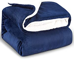 Reversible Flannel & Sherpa Throw Blanket, Super Soft Fleece Plush Fuzzy Blankets for Couch Sofa,TV Bed Blankets & Throws,Comfy Cozy Fluffy Warm Duvet Cover with Zipper Twin Size , Navy