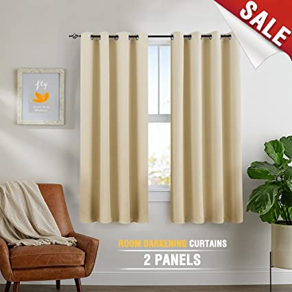 Beige Curtains 63 inch 2 Panels Blackout Bedroom Window Curtains Room  Darkening Thermal Insulated Drapes Grommet Top
