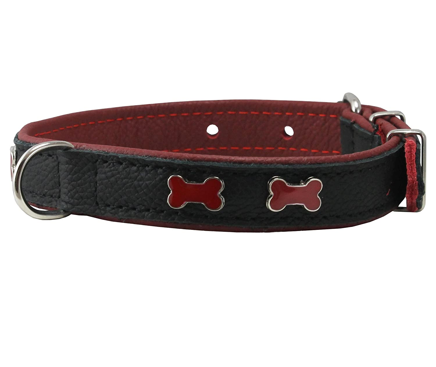 Genuine High Quality Black Leather Metal Bone Studs Soft Black Leather Padded Dog Collar 3 4  Wide. Fits 10 -14  Neck.