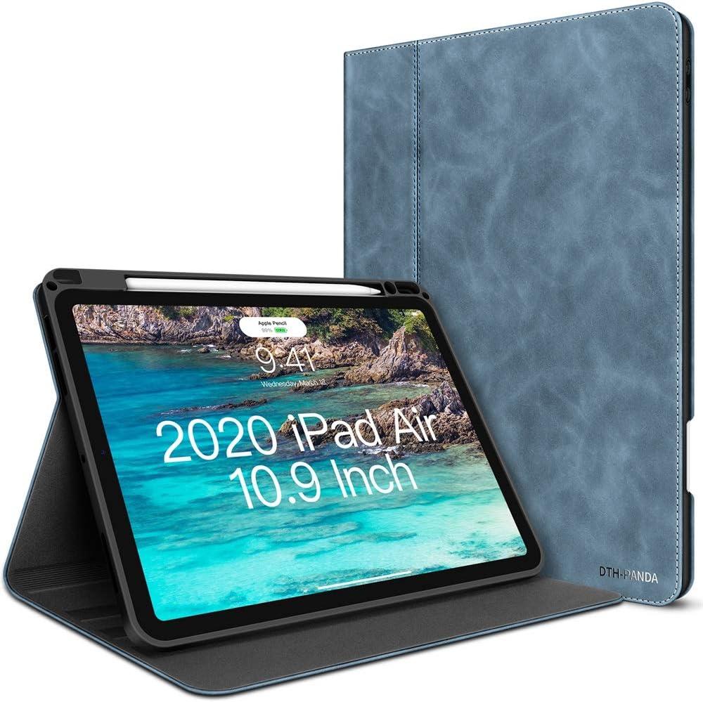 iPad Air 4th Generation Case 10.9 Inch 2020 PU Leather with Pencil Holder - Minimalist Design Folio Smart Cover [Supports Wireless Charging & Fingerprint Unlock](Dark Slate Blue)