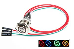 NOYITO 16mm Chassis Switch Metal Button Switch with 22inchs Extension Cable Red Yellow Blue Green Switch Symbol Suitable for Computer DIY Switch (16mm, Blue Symbol)