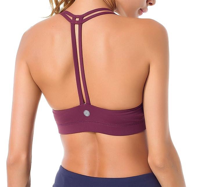Queenie KE Sostén de Yoga sin Forro Ligero Soporte de Doble-T para Mujeres: Amazon.es: Ropa y accesorios