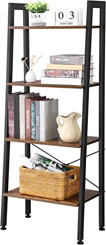 BEWISHOME Ladder Bookshelf Retro Industrial 4-Tier Bookcase Plant Stand Storage Shelves Multifunctional Organizer