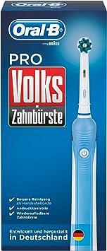 Oral B Volks Zahnbürste Pro Elektrische Zahnbürste, mit Timer und ein CrossAction Aufsteckbürste, weißblau
