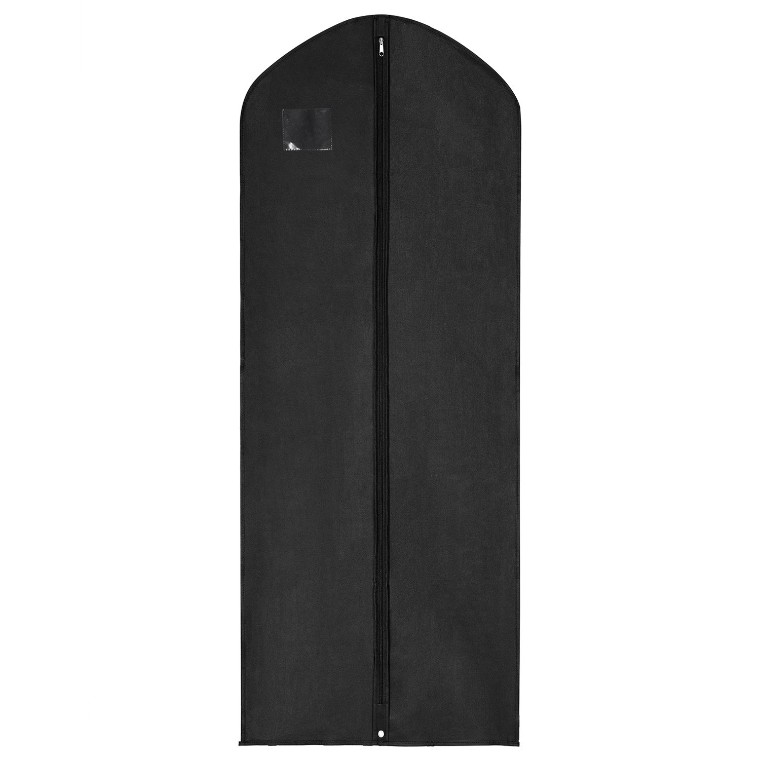 MaidMAX Extra Long Garment Bag Suit Cover with a Transparent Label Holder, Zipper and Inside Pocket, 60 Inches Long, Black 903097-2