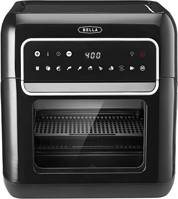 BELLA 10 Liter Air Fryer Oven Dehydrator, Black