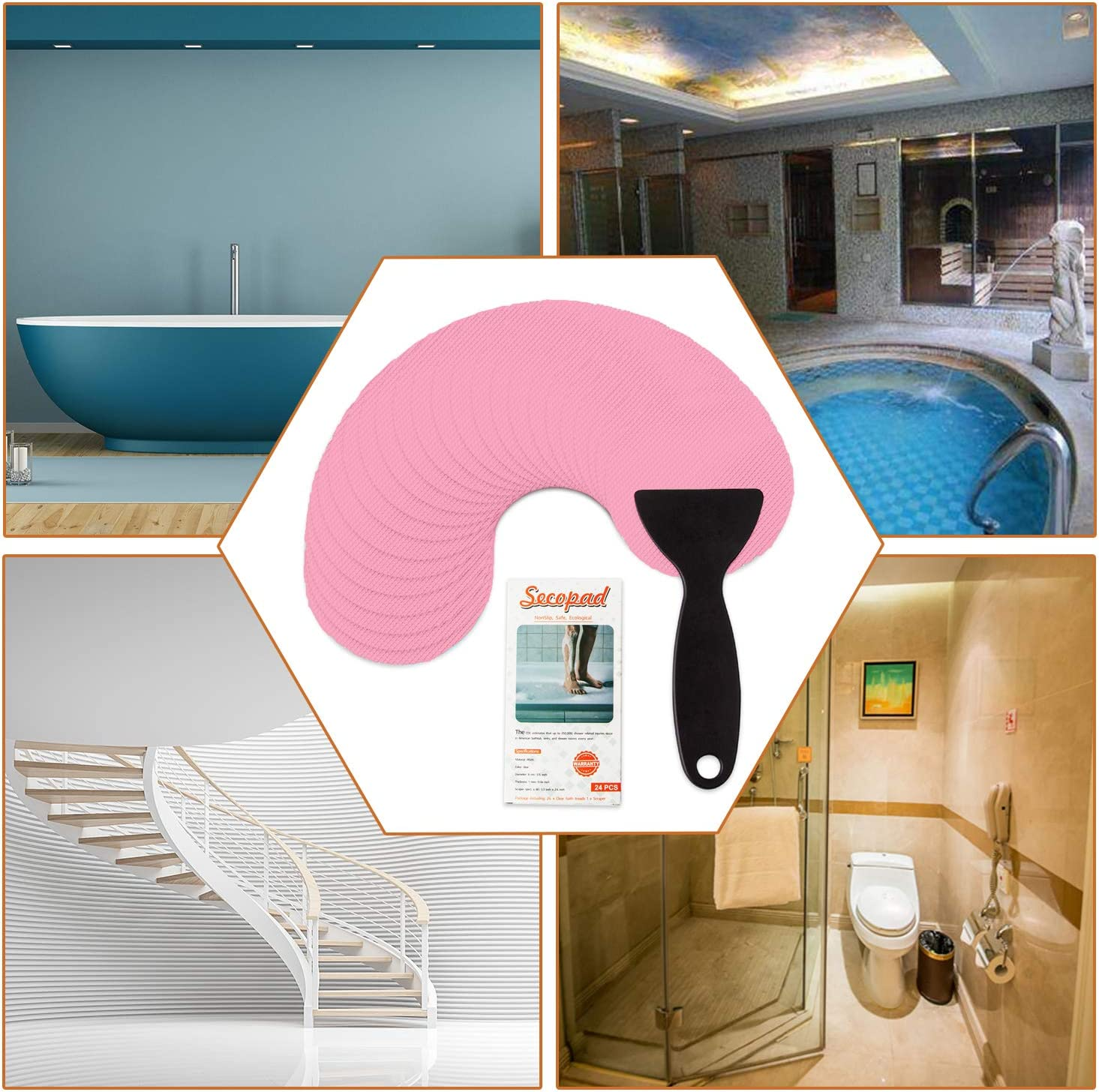 Secopad Non-Slip Bathtub Stickers Safety Bathroom Tubs Showers Treads Adhesive Decals Scraper Pink