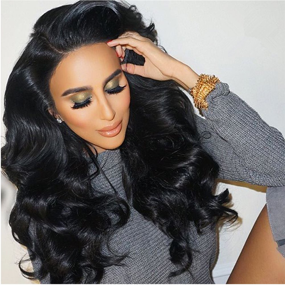 Eayon Hair 150% Density 360 Lace Frontal Wigs-Body Wave Full Frontal Lace Human Hair Wigs for Black Women Natural Hairline with Baby Hair Natural Color 16inch