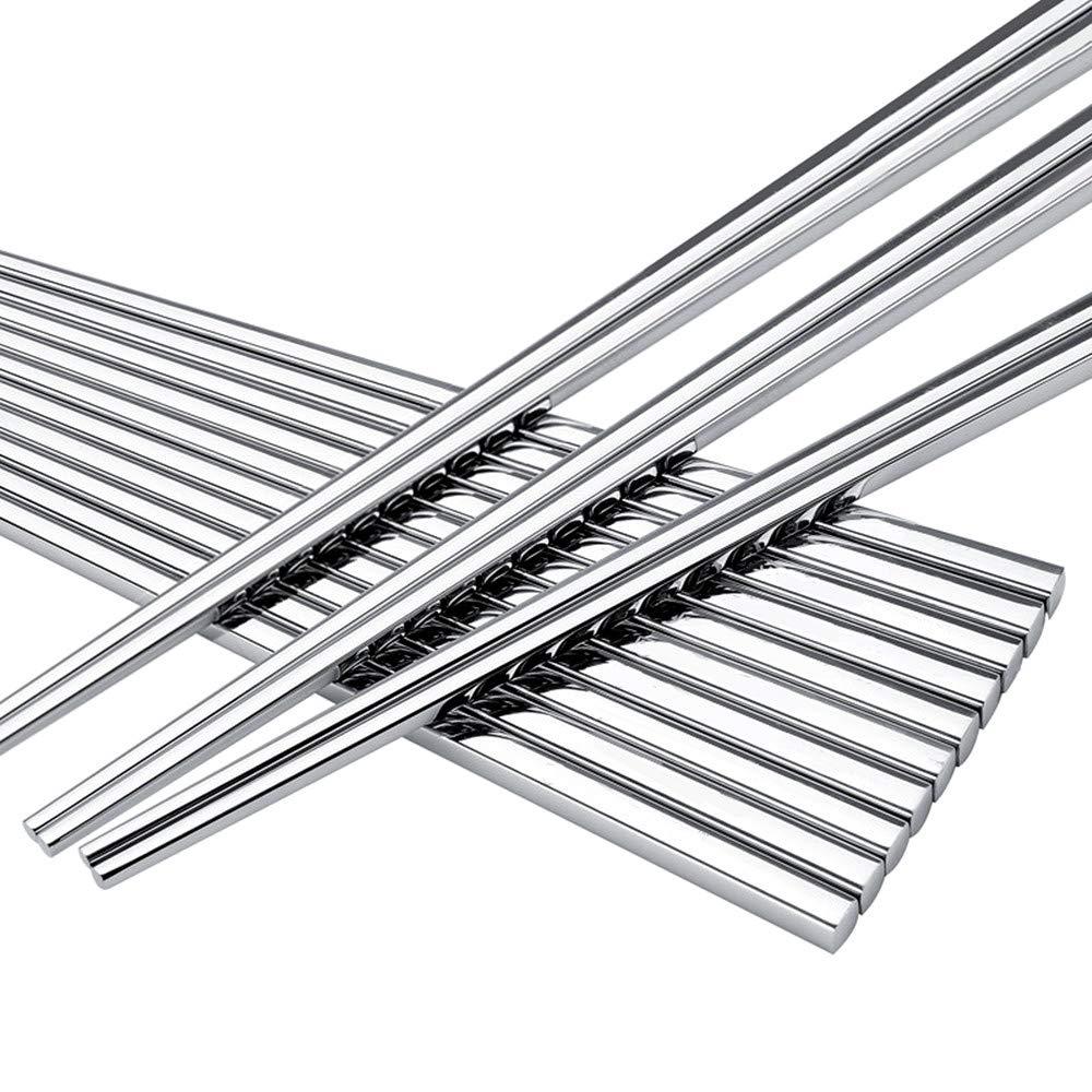 LIUNA Luxury Square Stainless Steel Chopsticks . Non-slip Metal Household Chopsticks 8 Pair / Lot