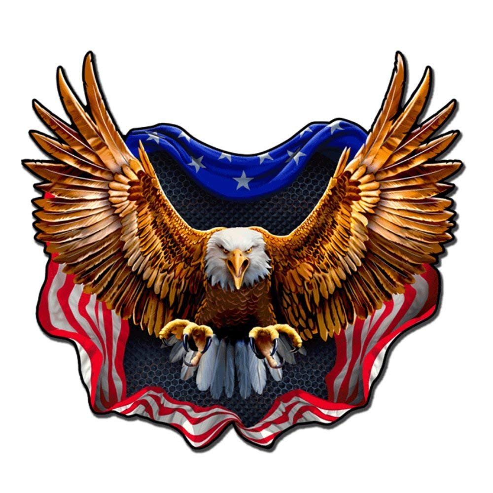 Built USA Bad Ass Eagle American Flag Decal | Permanent | Waterproof Durable American Flag Car Motorcycle Bicycle Skateboard Laptop Luggage Bumper Vinyl Decal - 12'' - 10 Pack by Built USA (Image #1)