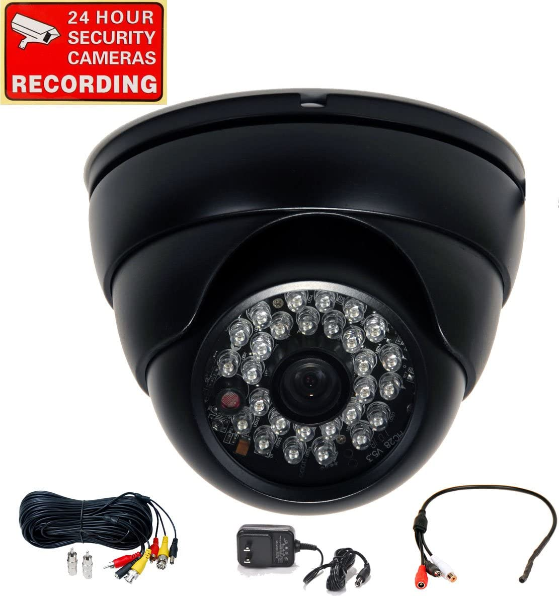 VideoSecu Built-in 1 3 Effio CCD Day Night Outdoor IR CCTV Security Camera 700TVL 28 Infrared LEDs Wide Angle High Resolution Vandal Proof with Cable and Power Supply 1ZG