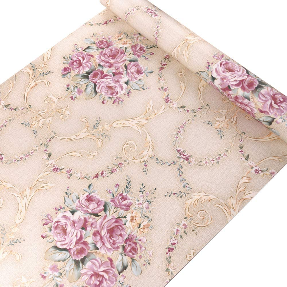 Amazon Com Lifavovy Vintage Rose Floral Peel And Stick Wallpaper