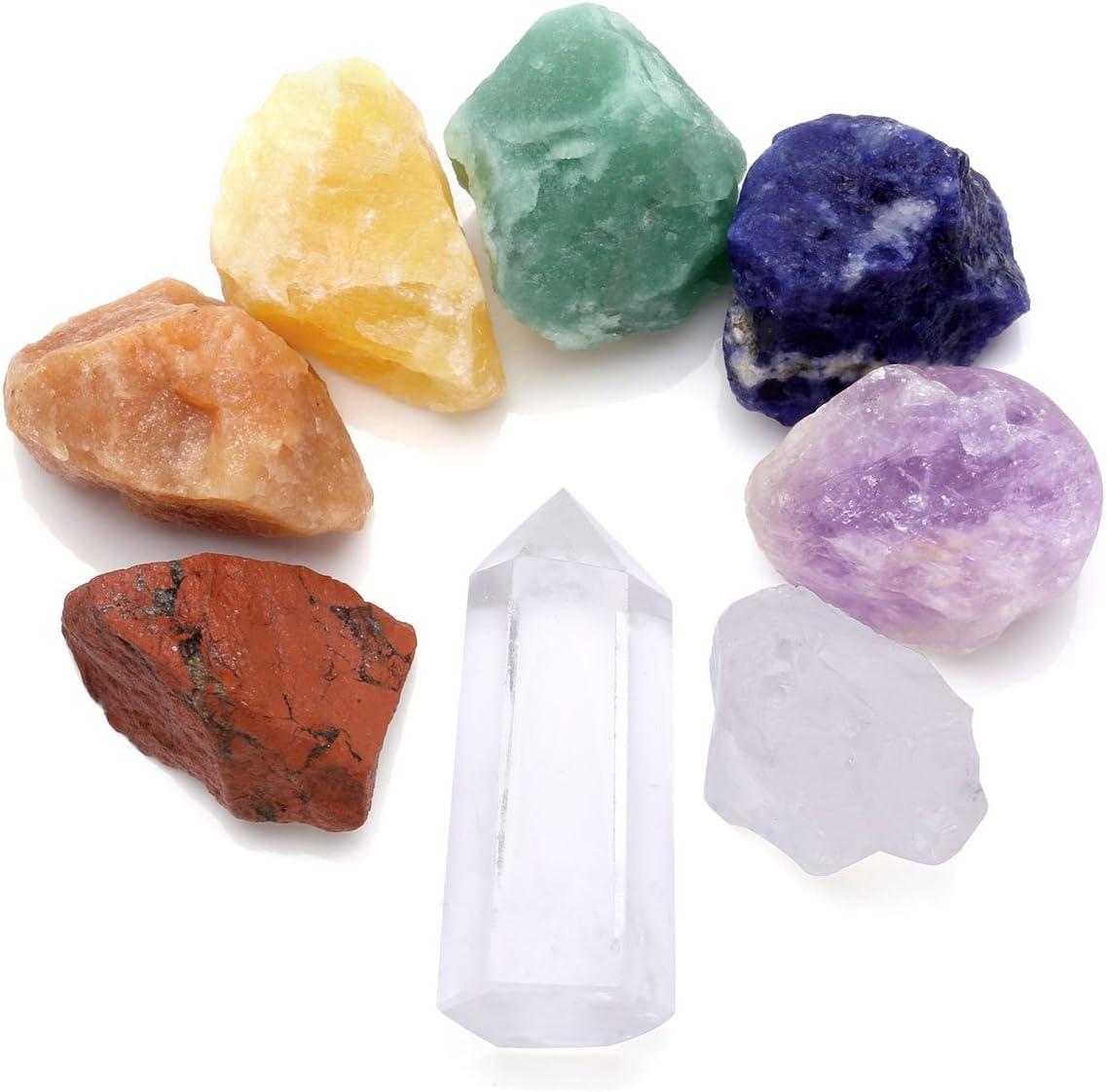 CrystalTears - Kit de curación para chakras, 7 piedras naturales de crudo, cristales de roca rugosa y meditación de yoga