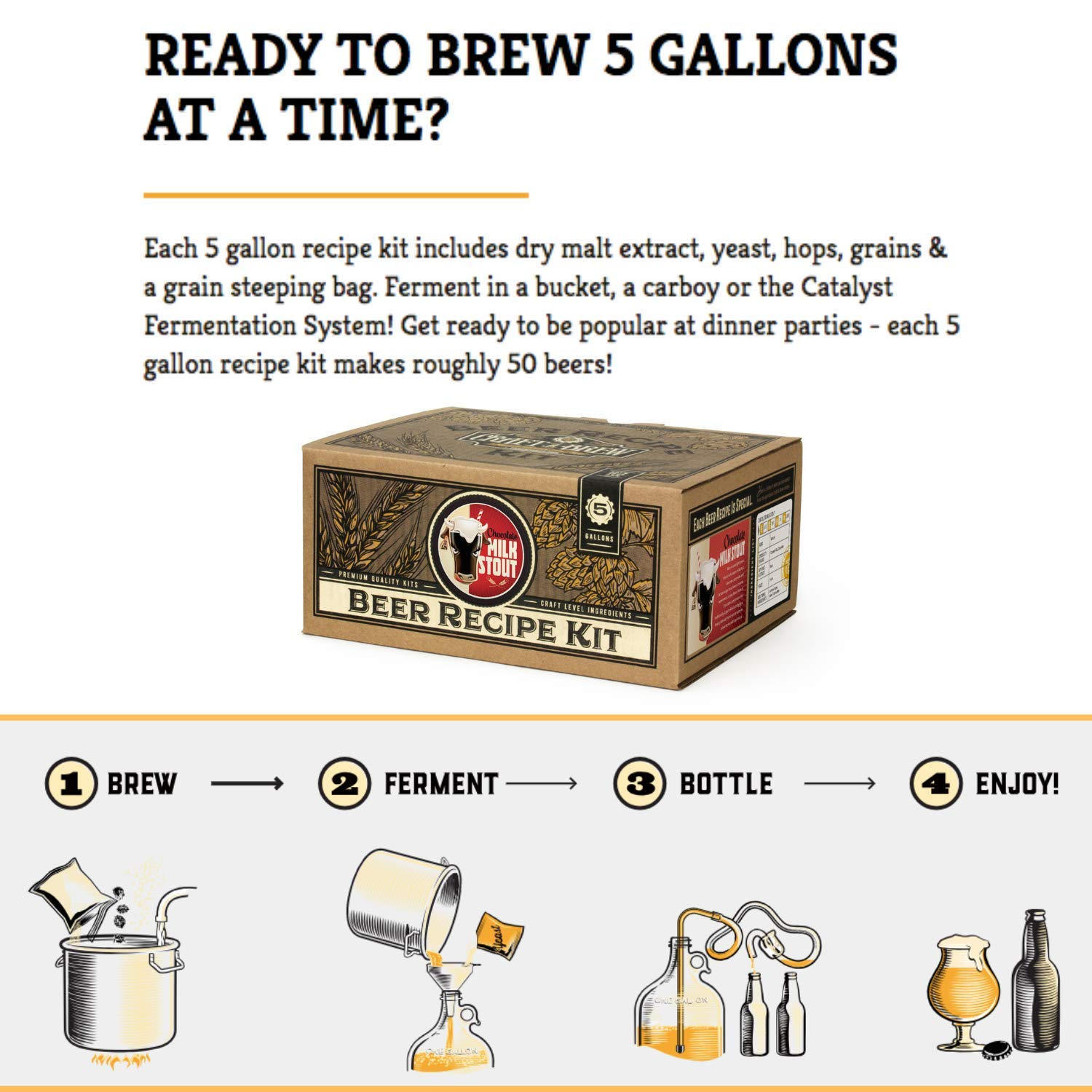 Home Brew Kit – Craft a Brew 5 Gallon Beer Recipe Chocolate Milk Stout Beer Kit – Make Your Own Beer with Home Brewing 5 Gallon Kits – Home Brewing Ingredient Kit by Craft A Brew (Image #2)