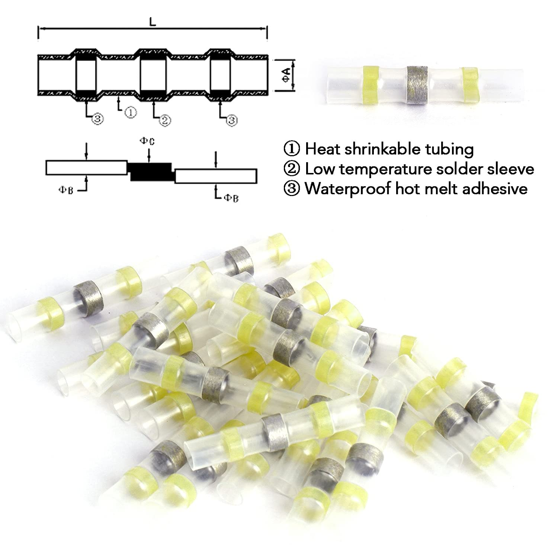 25//50 St/ück L/ötverbinder Schrumpfverbinder Sto/ßverbinder Quetschverbinder Kabelverbinder Wasserdicht f/ür 0.5-1.0mm/² Kabel, 50St/ück