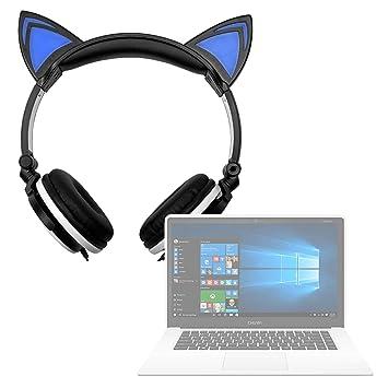DURAGADGET Auriculares Plegables estéreo con diseño de Orejas de Gato en Color Negro para Portátil Chuwi LapBook Air/InnJoo LeapBook A100 / Prixton Netbook ...