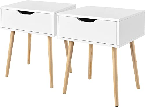YAHEETECH 2PCS Mid Century Nightstands Bedside Table