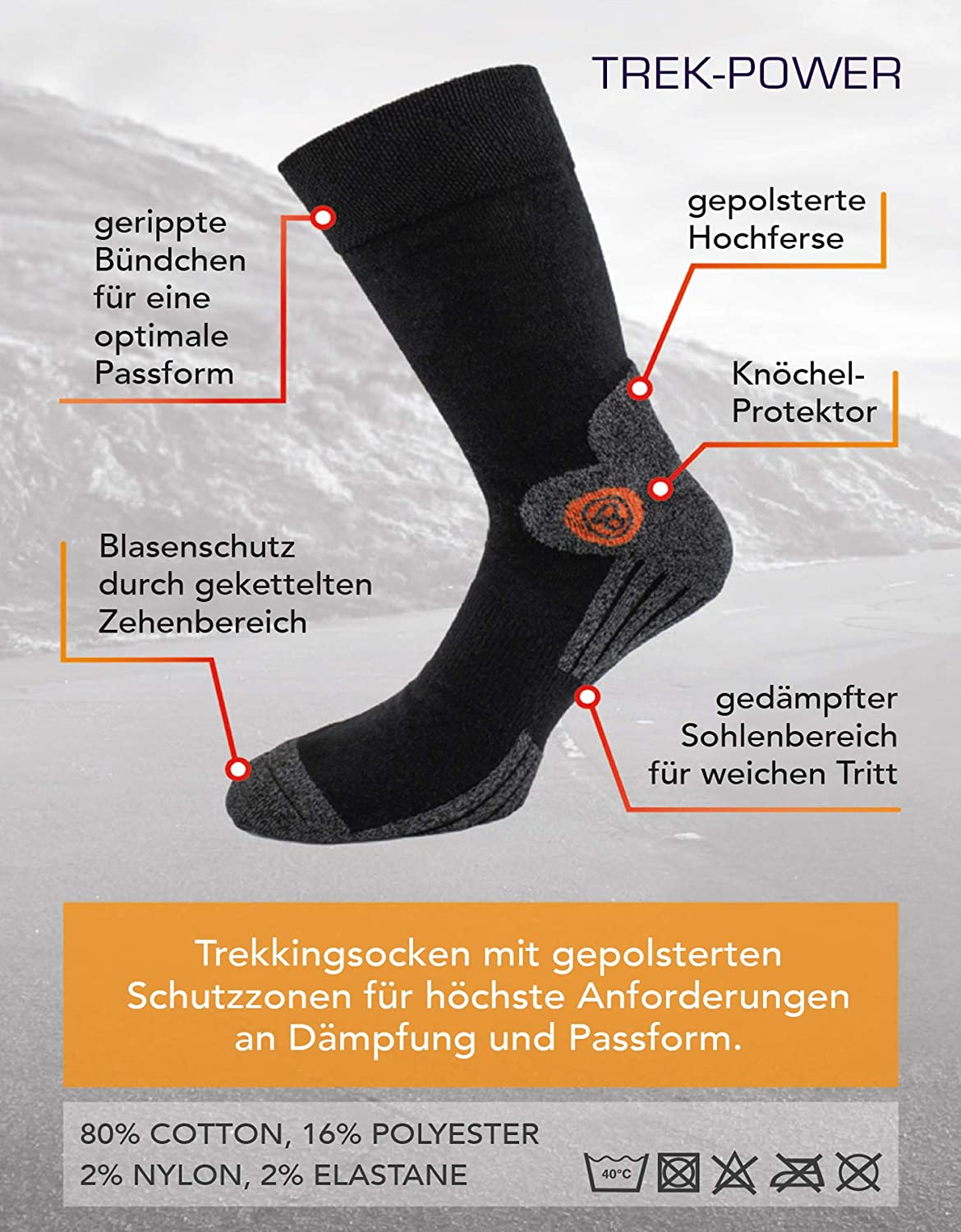 4 Pairs of BRUBAKER Trek-Power Socks for Trekking Hiking Walking Cycling with Dynamic Fit Technology