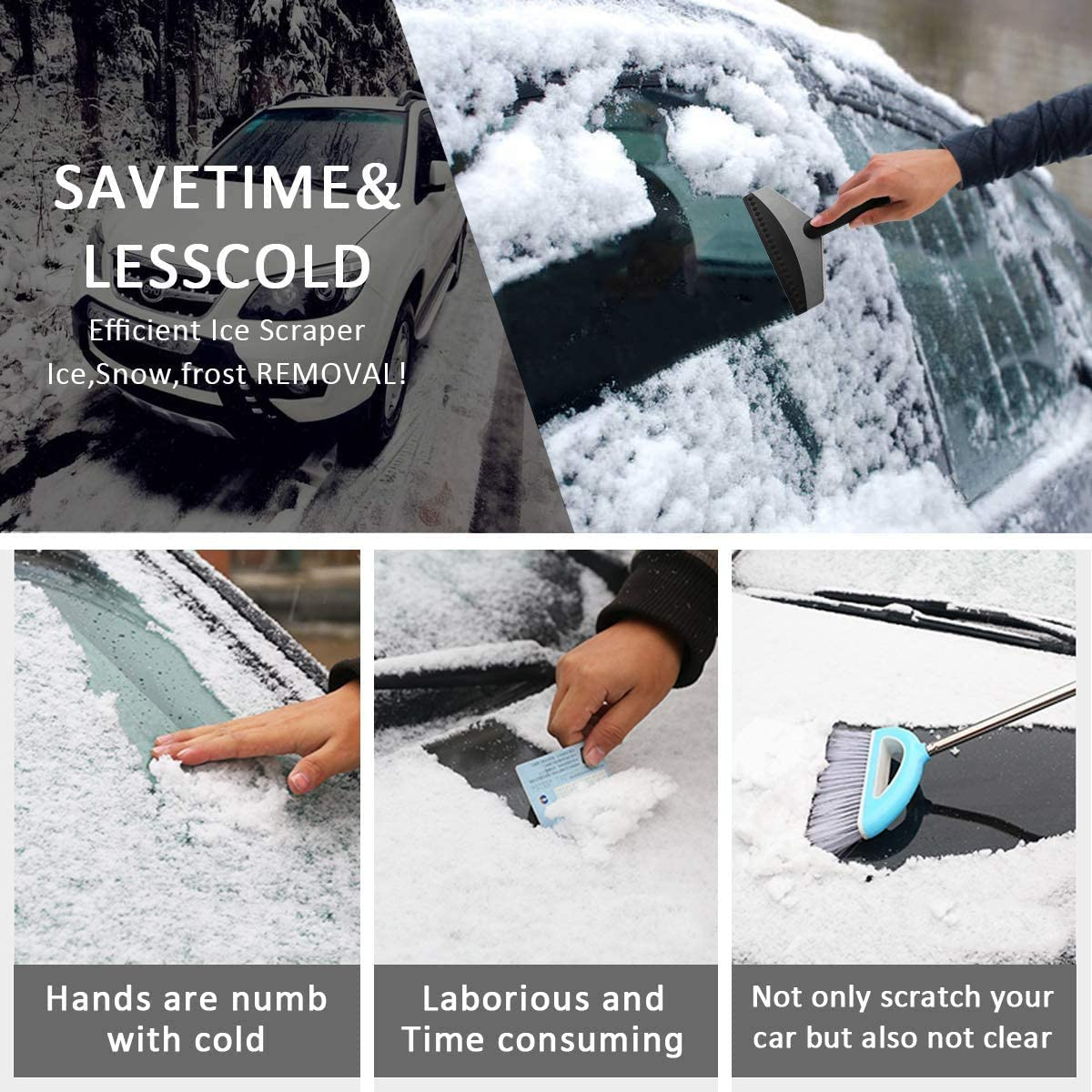 Snow Ice Scraper Heavy-Duty Frost and Snow Removal Car Truck SUV Window /& Windshield Tool 2 Pack