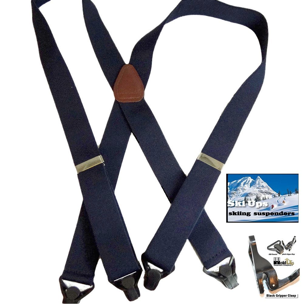 HoldUp All Black Snow Ski-Ups Suspenders in 1 1/2'' width with Patented black Gripper Clasps in X-back style by Hold-Up Suspender Co. (Image #7)